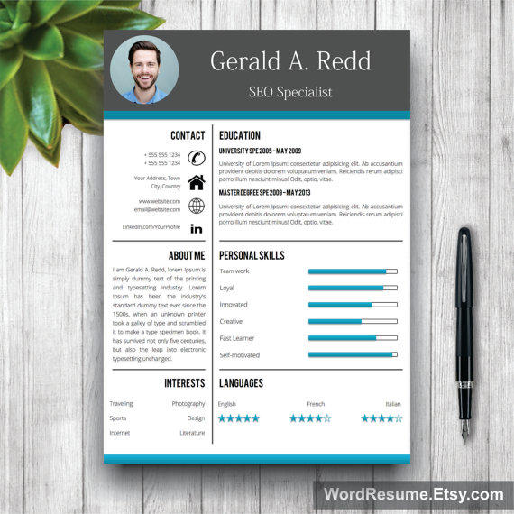 creative cv template cover letter word from wordresume