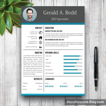 Creative CV Template, Cover Letter Word, Curriculum Vitae, Professional Resume Template Design, Resume Template Instant Download, MS Word CV