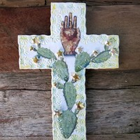 Cacti Bohemian Shrine Cross - Denim & Bone