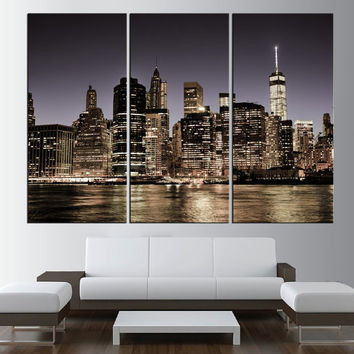 City skyline Canvas Art Print New York Night Large Wall Art New York canvas print, New York City night skyline Hudson river t393