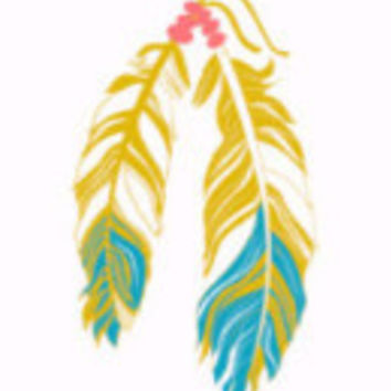 Metallic Western Gold and Turquoise Feathers Tattoo