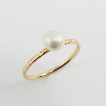Delicate PEARL gold filled ring (gfr-6058). gift for mom siste wife, anniversary gift for her, romantic gift