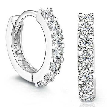 Silver Plated Small Round Rhinestone Crystal Hoop Earrings