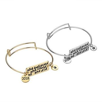 Graduation Gift Bracelet  2PCS Inspirational Jewelry Set Gifts for Women Teens Girls She Believes She Could So She Did Bangle Adjustable Bracelet for Her Silver and Gold
