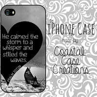 Psmalms 107:29 Quote Apple iPhone 4 and 5 Hard Plastic or Rubber Cell Phone Case Cover Original Trendy Stylish Design