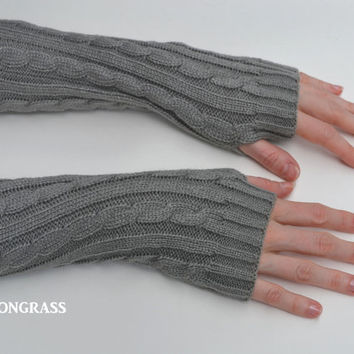 Trendy Women's GRAY Knit Fingerless Gloves - Knitted Arm Warmers - Stocking Stuffer Gifts - Fall Winter - Wrist Warmers - Teacher Gift