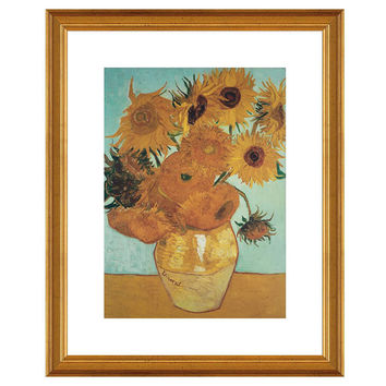 Vincent van Gogh, Sunflowers on Blue, Paintings