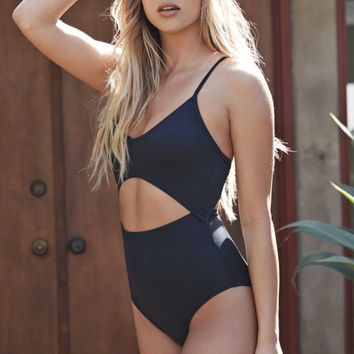LA Hearts Deep V Neck Cut Out One Piece Bathing Suit Swimsuit - Womens Swimwear - Black