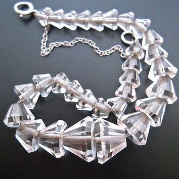 Art Deco Rock Crystal Bracelet, Sterling Silver Chain, Vintage
