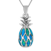 """Rhodium Plated Sterling Silver Synthetic Blue Opal Pineapple Pendant Necklace, 16+2"""" Extender"""
