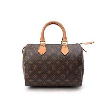 PEAPNO LV Women Shopping Leather Women's Authentic Louis Vuitton Speedy 25 Brown Monogram Tra
