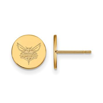 NBA 14k Yellow Gold Plated Silver Charlotte Hornets Sm Disc Earrings