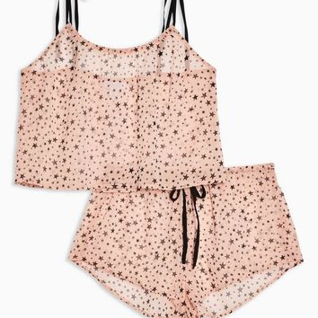 Blush Sheer Star Print Pyjama Set | Topshop