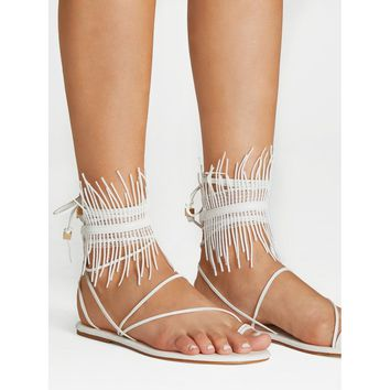 Fringe Detail Lace Up Sandals