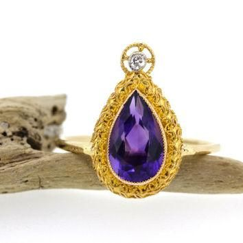 Antique Amethyst Ring | Vintage Stacking Ring | Pear Cut Gemstone Ring | Recycled Yell