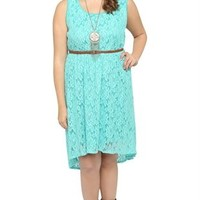 Plus Size Lace High Low Dress with Faux Leather Belt