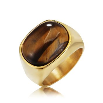 Gold & Silver Vintage Men Boy Oval Tiger Eye Brown Stones Symbol Ring in Stainless Steel Jewelry Mens Accessories Anel Aneis