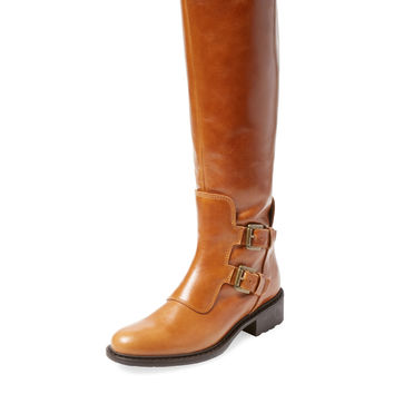 Charles David Women's Perina Double Buckle Leather Boot - Cognac -