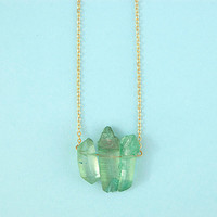 Marina Dyed Quartz Trio Crystal Necklace by Gather Fox
