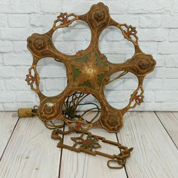 Vintage Art Deco Cast Iron Ceiling Light Fixture