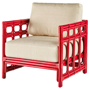 Regeant Lounge Chair, Antiqued Red, Club Chairs