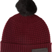 Burberry Shoes & Accessories | Rabbit-trimmed wool and cashmere-blend beanie | NET-A-PORTER.COM