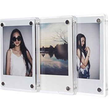 [Fujifilm Instax Mini Frame] -- CAIUL Clear Acrylic Fridge Magnetic Frame, Double Sided Photo Magnet Frame for Instax Mini 8 8+ 70 7s 90 25 50s Film, 3pcs