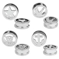 Plugs Kit Ear Gauges Stretch Screw Fit Stainless Steel Skull Star Anchor Bird 14mm Set 8PC