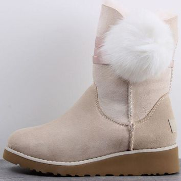 UGG 1018518 Wedges Tall Ribbon Hair Ball Women Men Fashion Casual Wool Winter Snow Boots Sand