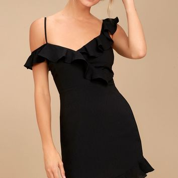 Myth Maker Black Off-the-Shoulder Bodycon Dress