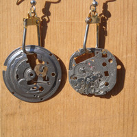 Recycled Steampunk Earrings by CraftyKikis on Etsy