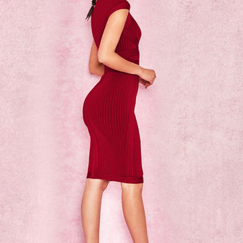 Clothing : Bandage Dresses : 'Sophia' Wine Red Ribbed Cupped Bandage Dress