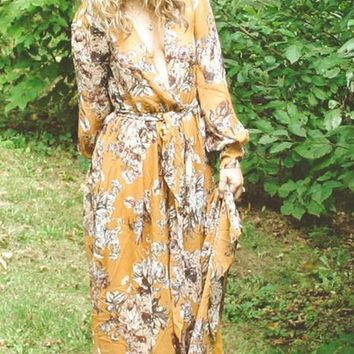 """""""Romance"""" Chiffon Gold Dust Floral Maxi Dress - [ EXTENDED SIZES ]"""