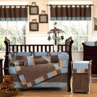 Sweet Jojo Designs Modern Soho Blue and Brown Baby Boy Bedding 9pc Bedding Crib Set
