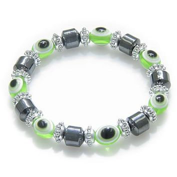 Evil Eye And Protection Magnetic Lime Eyes Hematite Bracelet