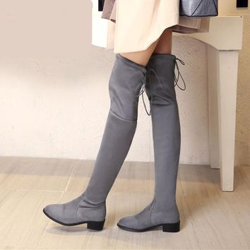 Women stretch Faux Suede slim over the knee boots pointed toe low-heel lace-up thigh high boots woman Black Gray long boots 10.5