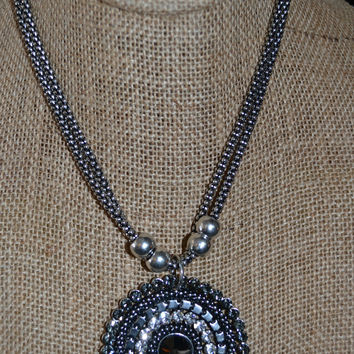 Circle Rhinestone Necklace Set