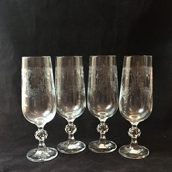Bohemia Crystal Champagne Glasses, Set of 4 Etched Crystal Champagne Flutes, Lead Crystal Stemware