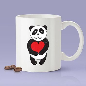 Panda Love Red Heart Coffee Mug  [Gift Idea - Makes A Fun Present] Blue