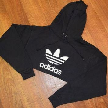 2016 Red/Black long sleeve original Adidas Cropped Hoodie