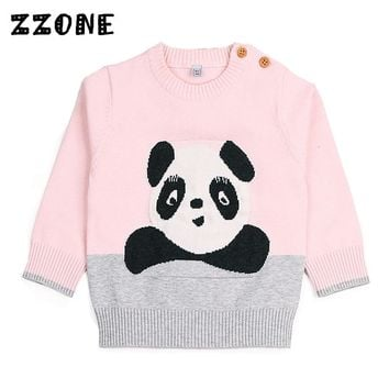 6M-24M Girls/Boys Cute Panda Pattern Winter Clothes Baby O-Neck Pullovers Newborn Kids Casual Rib Knit Cuff Sweaters,DC331