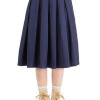 ModCloth Vintage Inspired Long A-line Pleat the Way Skirt