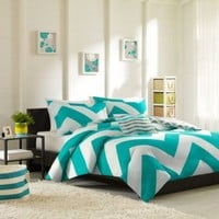 Libra Reversible Chevron Comforter Set in Blue/White