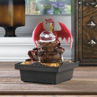 Medieval Red Dragon Indoor Tabletop Water Fountain Decor W/ LED Light