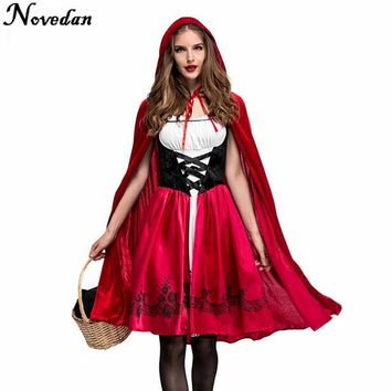 Adult Women Halloween Costume Cosplay Little Red Riding Hooded Robe Lady Embroidery Dress Party Cloak Outfit For Girls Plus Size