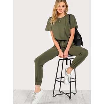 Drawstring Waist Solid Sweat Jumpsuit