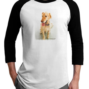 Golden Retriever Watercolor Adult Raglan Shirt