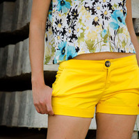 Yellow Shorts For Women by karmologyclinic