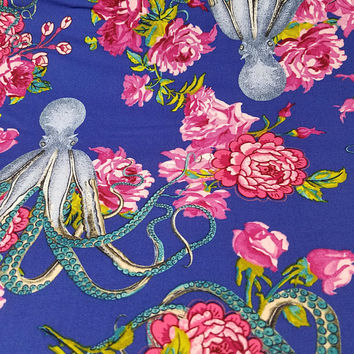 Tokyomilk - Neptune - and - the - mermaid - floral - octopus - coats - and - clark - quilting - cotton - print