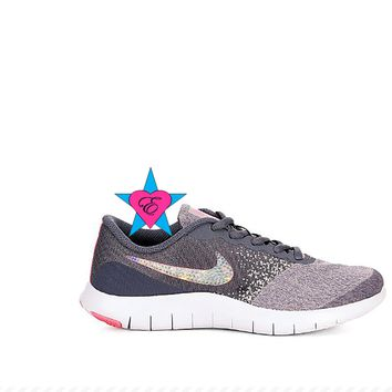 Crystal Rhinestone Girls Nike Flex Contact Gray | 3.5 - 7